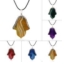 Geknister Achat Halskette, mit Ton & PU Leder, Hand, unisex, keine, 35x46mm, verkauft per ca. 17.5 ZollInch Strang