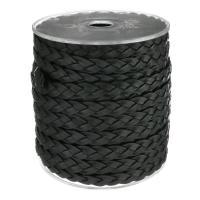 Full-Grain Rindsleder Schnur, mit Kunststoffspule, schwarz, 9x3mm, 25m/Spule, verkauft von Spule