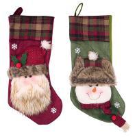 Stoff Weihnachten Socke, Weihnachtssocke, verschiedene Muster für Wahl, 49x20cm, verkauft von PC