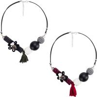 Mode Statement Halskette, Zinklegierung, mit Weiße Muschel & Holz & Harz, mit Verlängerungskettchen von 3.1lnch, plattiert, für Frau, keine, frei von Nickel, Blei & Kadmium, verkauft per ca. 18.9 ZollInch Strang