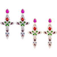 Zinklegierung Tropfen Ohrring, mit Harz-Perle & Kristall, Messing Stecker, Kreuz, plattiert, für Frau & facettierte & mit Strass, keine, frei von Nickel, Blei & Kadmium, verkauft von Paar