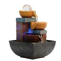 Harz Wasser-Brunnen Steinhandwerk, verschiedene Stile für Wahl, 130x130x200mm, verkauft von PC