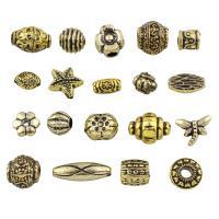 Harz Schmuckperlen, gemischt & antik imitieren, goldfarben, 6x4mm-25x11x8mm, Bohrung:ca. 1-4mm, ca. 1200PCs/Tasche, verkauft von Tasche