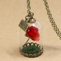 Zinklegierung Halskette, mit Glas, mit Verlängerungskettchen von 2lnch, Wort Wunsch, antike Bronzefarbe plattiert, mit getrockneten Blumen & Oval-Kette & für Frau, keine, 20X38mm, verkauft per ca. 21.6 ZollInch Strang