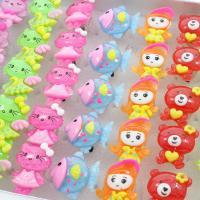 Kinder Finger Ring, Acryl, für Kinder & offen & gemischt, 23x25x38mm-21x35x40mm, Größe:6-9, 50PCs/Box, verkauft von Box