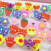 Acryl Manschette Fingerring, für Kinder & offen & gemischt, 28x31x22mm-26x21x21mm, Größe:6-9, 50PCs/Box, verkauft von Box