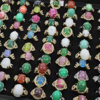 Edelstein Fingerring, Zinklegierung, mit Edelstein, goldfarben plattiert, unisex & mit Strass & gemischt, frei von Blei & Kadmium, 22x26x12mm-20x24x14mm, Größe:6-9, 100PCs/Box, verkauft von Box