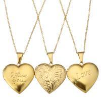 Mode Medaillon Halskette, Edelstahl, mit Verlängerungskettchen von 2Inch, Herz, Wort Liebe, goldfarben plattiert, Oval-Kette & verschiedene Muster für Wahl & für Frau, 29x29mm, 1.5mm, Innendurchmesser:ca. 22x17mm, verkauft per ca. 17 ZollInch Strang