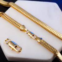 Messingkette Halskette, Messing, 18 K vergoldet, unisex & Schlangekette, frei von Nickel, Blei & Kadmium, 7mm, verkauft per ca. 19.5 ZollInch Strang