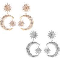 Strass Ohrring, Zinklegierung, Messing Stecker, plattiert, Bohemian-Stil & für Frau & mit Strass, keine, frei von Nickel, Blei & Kadmium, 49x80mm, verkauft von Paar