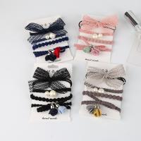 Elastisches Haarband, elastische Nylonschnur, mit ABS-Kunststoff-Perlen & Spitze & Baumwollsamt, gemischt, keine, 55mm, 3SetsSatz/Menge, 4PCs/setzen, verkauft von Menge