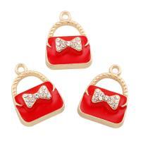 Zinklegierung Handtasche Anhänger, goldfarben plattiert, Emaille & mit Strass, rot, frei von Blei & Kadmium, 17x24x7mm, Bohrung:ca. 2mm, 10PCs/Tasche, verkauft von Tasche