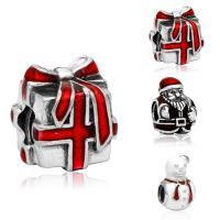 Europa Beads Weihnachten, Zinklegierung, antik silberfarben plattiert, Weihnachtsschmuck & verschiedene Stile für Wahl & ohne troll & Emaille, frei von Blei & Kadmium, 10-15mm, Bohrung:ca. 4-4.5mm, 20PCs/Tasche, verkauft von Tasche