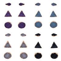 Natürliche Quarz Ohrringe, Zinklegierung, mit Naturstein, Messing Stecker, goldfarben plattiert, druzy Stil & für Frau, keine, frei von Nickel, Blei & Kadmium, 9mm, 12mm, 13mm, 3PaarePärchen/setzen, verkauft von setzen