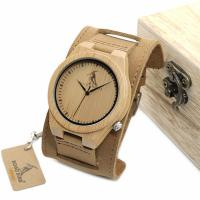 BOBOBIRD® Unisex Uhr, PU Leder, mit Zifferblatt aus Holz & Glas & Edelstahl, einstellbar, originale Farbe, 45.5mm, 22mm, Länge:ca. 6.5-8.5 ZollInch, verkauft von PC