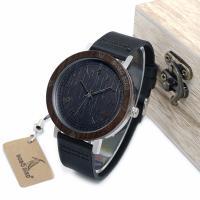 BOBOBIRD® Unisex Uhr, PU Leder, mit Zifferblatt aus Holz & Glas & Edelstahl, einstellbar, originale Farbe, 43mm, 20mm, Länge:ca. 9.5 ZollInch, verkauft von PC