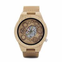 BOBOBIRD® Unisex Uhr, PU Leder, mit Zifferblatt aus Holz & Glas & Edelstahl, einstellbar, originale Farbe, 45mm, 22mm, Länge:ca. 8.5 ZollInch, verkauft von PC