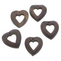 Holz Anhänger, Herz, 26x28x5mm, Bohrung:ca. 1mm, 100PCs/Tasche, verkauft von Tasche