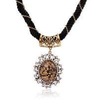 Kristall Zinklegierung Halskette, mit Nylonschnur & Kristall & Harz, mit Verlängerungskettchen von 5cm, plattiert, für Frau & mit Strass, keine, frei von Blei & Kadmium, 450mm, verkauft per ca. 17.5 ZollInch Strang