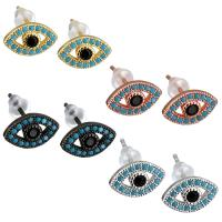 Evil Eye Ohrringe, Messing, mit Gummi Earnut, blöser Blick, plattiert, für Frau & mit kubischem Zirkonia, keine, 11x7mm, 5PaarePärchen/Menge, verkauft von Menge