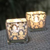 Kerzenhalter, Glas, plattiert, verschiedene Muster für Wahl, 50x50mm, verkauft von PC