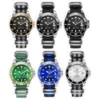 Nylon Armbanduhr, mit Glas & Edelstahl, plattiert, 30 m wasserdicht & stem-Winder & einstellbar & für den Menschen, keine, 43x43x14mm, Länge:ca. 9.4 ZollInch, verkauft von PC