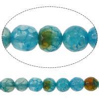 Natürliche Crackle Achat Perlen, Geknister Achat, rund, facettierte, blau, 8mm, Bohrung:ca. 0.8-1mm, Länge:ca. 15.5 ZollInch, 10SträngeStrang/Menge, ca. 50PCs/Strang, verkauft von Menge