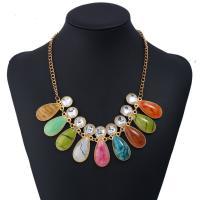 Zinklegierung Halskette, mit Kristall & Harz, mit Verlängerungskettchen von 5cm, goldfarben plattiert, Twist oval & für Frau & facettierte, keine, frei von Blei & Kadmium, 45mm, verkauft per ca. 15.5 ZollInch Strang