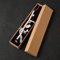 Kraftpapier Halskettenkasten, mit Schwamm, 225x50x30mm, 20PCs/Menge, verkauft von Menge