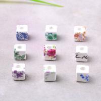 Porzellan Perle, Quadrat, Aufkleber, gemischte Farben, 11x11mm, Bohrung:ca. 2mm, verkauft von PC