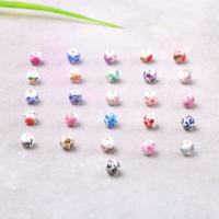 Porzellan Perle, rund, Aufkleber, gemischte Farben, 6mm, Bohrung:ca. 2mm, verkauft von PC