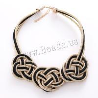 Mode Halskette, Goldene Fäden, mit Zinklegierung, mit Verlängerungskettchen von 5cm, für Frau, keine, frei von Blei & Kadmium, 70x130mm, verkauft per ca. 17.5 ZollInch Strang