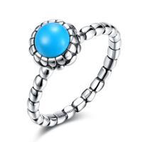 comeon® Finger-Ring, Thailand, mit Synthetische Türkis, flache Runde, verschiedene Größen vorhanden & für Frau, 9mm, verkauft von PC