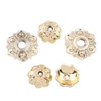 Verkupferter Kunststoff Perlenkappen, Blume, goldfarben plattiert, verschiedene Stile für Wahl, Bohrung:ca. 2,1.5mm, 20PCs/Tasche, verkauft von Tasche