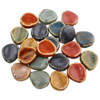 Glasierte Porzellan Perlen, Klumpen, glaciert, keine, 25x23x9mm, Bohrung:ca. 3mm, 100PCs/Tasche, verkauft von Tasche