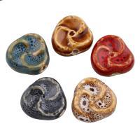 Glasierte Porzellan Perlen, Dreieck, glaciert, keine, 29x27x10mm, Bohrung:ca. 3mm, 100PCs/Tasche, verkauft von Tasche