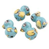 Glasierte Porzellan Perlen, Huhn, glaciert, 14x20x12mm, Bohrung:ca. 2mm, 100PCs/Tasche, verkauft von Tasche