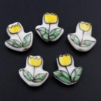 Porzellan Schmuckperlen, Blume, glaciert, keine, 15x15x6mm, Bohrung:ca. 2mm, 100PCs/Tasche, verkauft von Tasche
