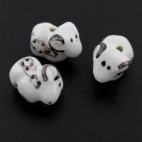Porzellan Schmuckperlen, glaciert, 18x14x9mm, Bohrung:ca. 1mm, 500PCs/Tasche, verkauft von Tasche
