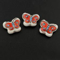 Porzellan Schmuckperlen, Schmetterling, glaciert, 17x14x6mm, Bohrung:ca. 1mm, 500PCs/Tasche, verkauft von Tasche