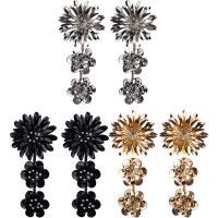 Zinklegierung Tropfen Ohrring, Messing Stecker, Blume, plattiert, für Frau & mit Strass, keine, frei von Nickel, Blei & Kadmium, 65x125mm, verkauft von Paar