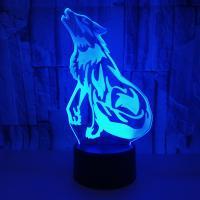 Nacht LED-Licht neben 3D-Lampe, Acryl, mit ABS Kunststoff, Wolf, automatisch die Farbe wechseln & verschiedene Stile für Wahl, 220x130mm, verkauft von PC
