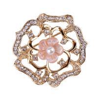 Zinklegierung Brosche, mit Rosa Muschel & Kunststoff Perlen, goldfarben plattiert, für Frau & mit Strass, frei von Nickel, Blei & Kadmium, 38x40mm, verkauft von PC