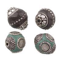 Indonesien Perlen, mit Zinklegierung, Olive, antik silberfarben plattiert, verschiedene Stile für Wahl, frei von Blei & Kadmium, Bohrung:ca. 1mm, verkauft von PC