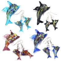 Murano Schmuck Sets, Anhänger & Ohrring, Lampwork, mit Zinklegierung, Dolphin, silberfarben plattiert, für Frau & Silberfolie, keine, frei von Nickel, Blei & Kadmium, 50-57x35-42mm, 52mm, 21-23x28-31mm, Bohrung:ca. 6.5mm, 10SetsSatz/Menge, verkauft von Menge