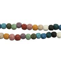 Natürliche Lava Perlen, rund, verschiedene Größen vorhanden, farbenfroh, Bohrung:ca. 2mm, verkauft per ca. 16 ZollInch Strang