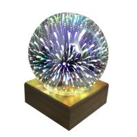 Nachtlampe, Glas, mit Holz, automatisch die Farbe wechseln, 220x165x170mm, verkauft von PC