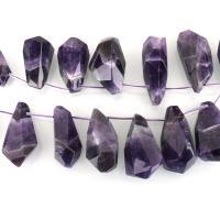 Natürliche Amethyst Perlen, 19-25x43-55x15-24mm, Bohrung:ca. 1.5mm, ca. 14PCs/Strang, verkauft per ca. 16 ZollInch Strang