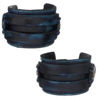 Kuhhaut Armband, Messing Druckknopf Verschluss, Messing antik Farbe überzogen, unisex, 43mm, verkauft per ca. 9 ZollInch Strang