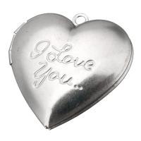 Edelstahl Medaillon Anhänger, Herz, Wort ich liebe dich, originale Farbe, 29x29x7mm, Bohrung:ca. 2mm, Innendurchmesser:ca. 22x17mm, 10PCs/Menge, verkauft von Menge